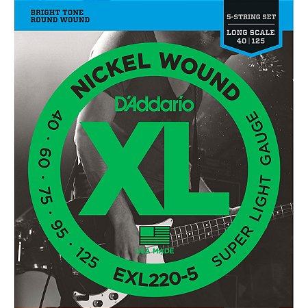 Encordoamento Daddario Baixo Nickel EXL220 5 Cordas 040