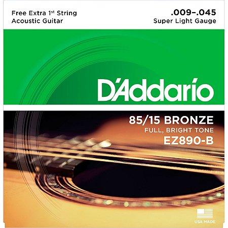 Encordoamento Daddario Violao Aço EZ890-B 009 com 1ª Corda Mi Extra Bronze 85/15