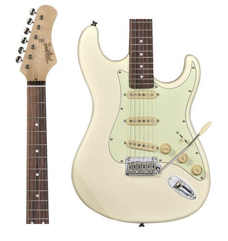 Guitarra Tagima T-635 OWH DF/MG Branca Escala Escura Escudo Claro