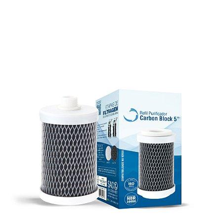 """Filtro Refil Carbon Block 5"""" (Sem TNT e Com Rosca) - 1038"""