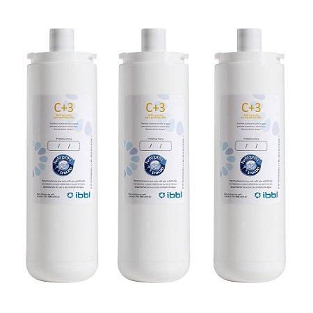 Kit com 3 Filtros Refil IBBL C+3 para Purificadores de Água (Original)