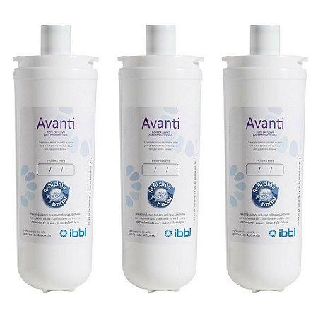 kit com 3 Filtros Refil Avanti para Purificador de Água IBBL - Avanti e Mio (Original)