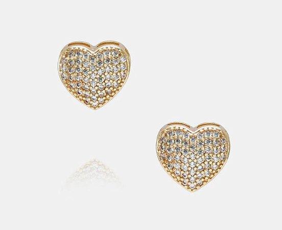 Brincos Coração Cravejado com micro zircônia classificação 5A da cor cristal