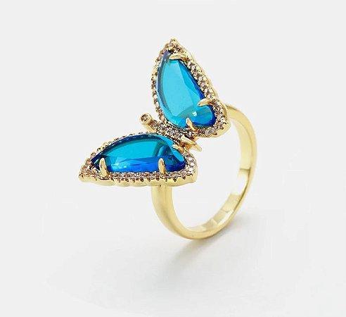 Anel borboleta azul cristal folheado a ouro 18k