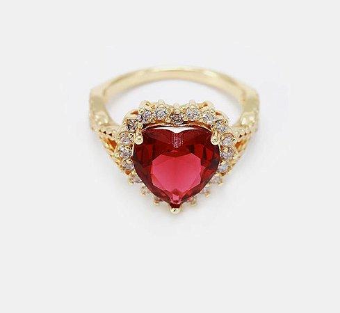 Anel coração cravejado e zircônia cúbica folheada ouro18k.