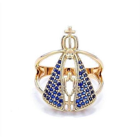 Anel Nossa Senhora Manto Azul semijoia Folheada ouro 18k.