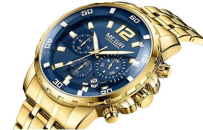 Relógio masculino dourado esportivo  Megir