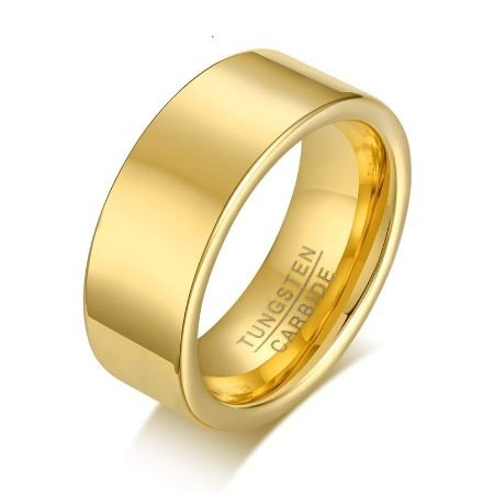 Aliança tungstênio polida reta de 8mm casamento/noivado