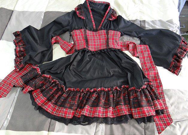 Vestido lolita kimono walolita xadrez vermelho com corset obi
