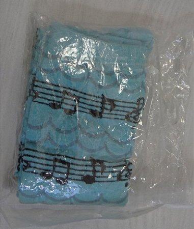 Meia 3/4 de notas musicais azul
