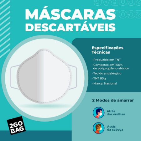 Máscara Descartável Kit com 1.000 unidades