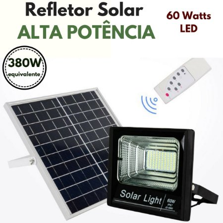 Refletor Energia Solar de Luz Alta Potencia - 60 Watts LED