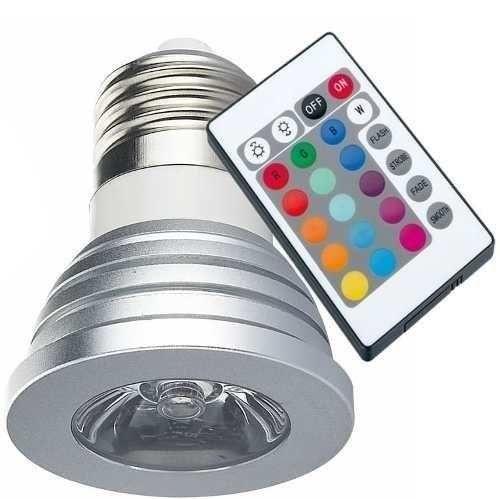 Lâmpada Rgb Led Spot E27 3w Bivolt 16 Cores C/ Remoto