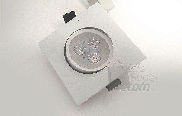 Super Promoção Lâmpada Led 3w Bivolt Spot Quadrado Embutir Branco FRIO