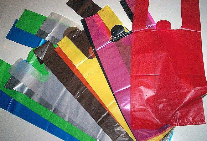 1.000 Sacolas Plásticas  Alça Camiseta Personalizada 1 Cor (40x50x0,04)