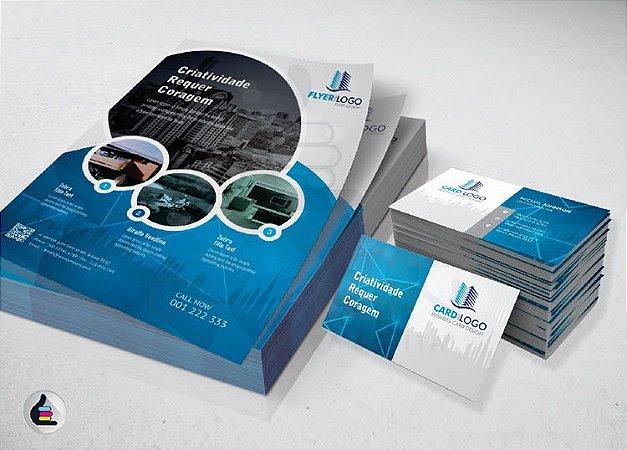 Folheto A6 80g 4x0 10x14cm + Cartão de Visita 300g 4x4 5x9cm Verniz.
