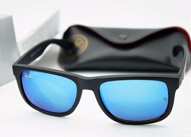 Ray Ban Justin 4165 Armação Preta   Lente Azul Espelhada - Divina Cor 17091569bc
