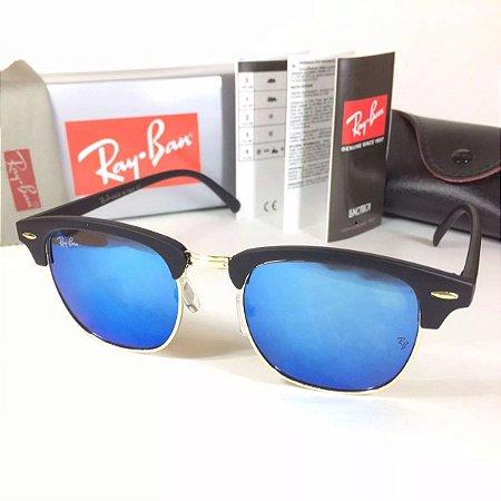 37edbec7c8ac0 Ray Ban Clubmaster Rb3016 Armação Preta   Lente Azul Espelhada ...