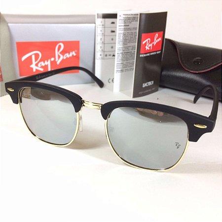 b105ec50b36ae Ray Ban Clubmaster Rb3016 Armação Preta   Lente Prata Espelhada ...