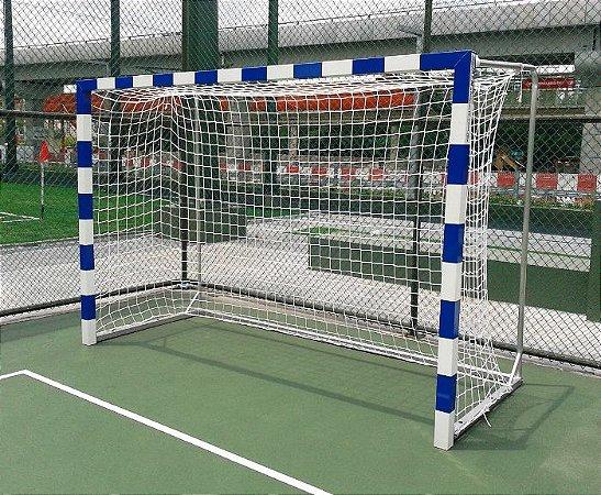 Par Rede de Gol para Futsal, Futebol de Salão, Handball, Poliesportiva, Fio 10, Malha 10cm, Reforçada, Modelo Oficial