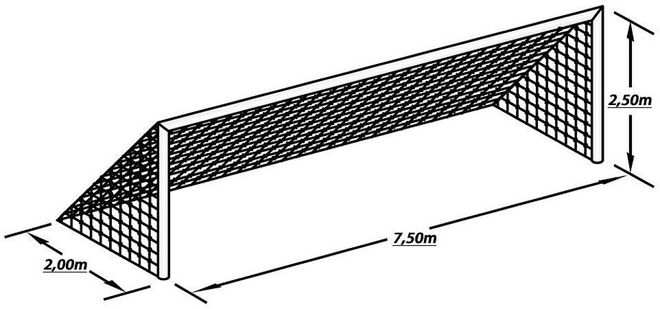 Par Rede de Gol para Futebol de Campo Fio 2 Malha 15 Modelo Véu