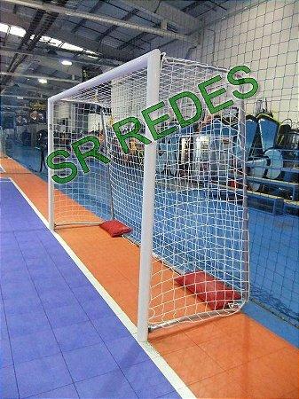 Par Rede de Gol Poliesportiva Futsal Handball Fio 10 Reforçado na Malha 10 Modelo Padrão Oficial Caixote