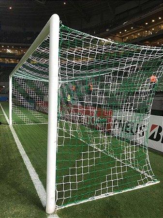 PAR Rede de Gol para Futebol de Campo Oficial Profissional Colorida Listrada FIO 8 (SEDA) e Malha 10x10