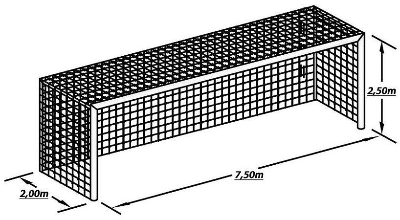 Par Rede de Gol para Futebol de Campo Fio 4 Malha 15 Modelo Caixote México Europeu