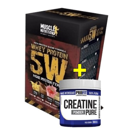 Whey Protein 5W (2Kg) + CREATINA (150g) GRÁTIS - Muscle Nutritions
