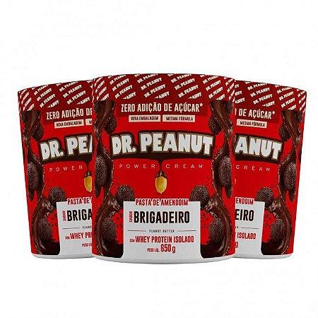 KIT 3 Pastas de Amendoim C/ Whey Sabor BRIGADEIRO (650g cada) - Dr. Peanut