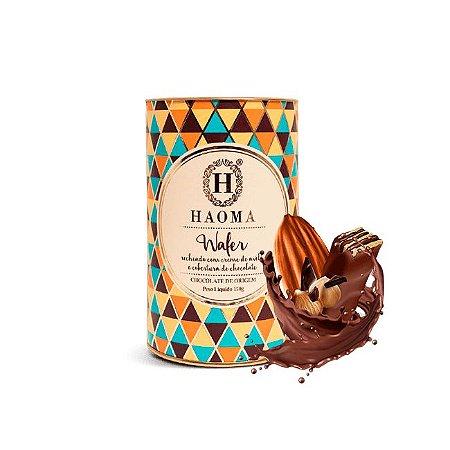 Wafer c/ whey potein + colágeno - Recheado C/ Creme de Avelã e Cobertura de Chocolate - ZERO açúcar (150g) - HAOMA