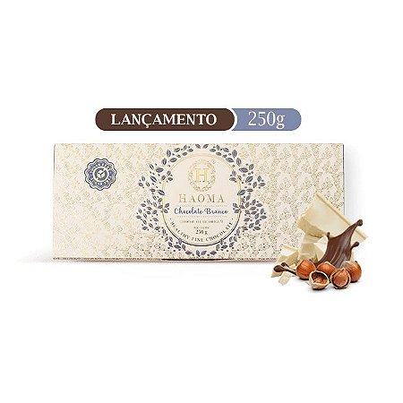 Barra de chocolate ZERO açúcar sabor Chocolate Branco C/ Recheio de Avelã  (250g) - HAOMA