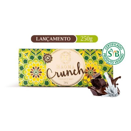 Barra de chocolate  ZERO açúcar sabor Crunch Vegano (250g) - HAOMA