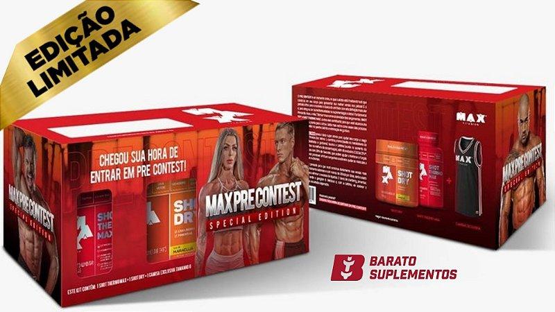 EDIÇÃO LIMITADA!! Kit Pre Contest Pack -1 Shot Dry Maracujá + 1 Shot Thermo + 1 Regata -  Max Titanium