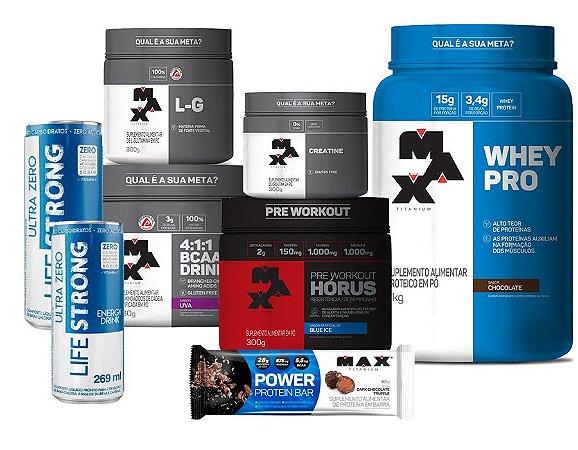 Kit COMPLETO Max Titanium (Whey Pro 1kg + Creatina 100g + Glutamina 150g + Bcaa Drink 280g + Pré Treino Horus 300g + 2 Lifestrongs + 1 Barrinha Power Protein(90g) )