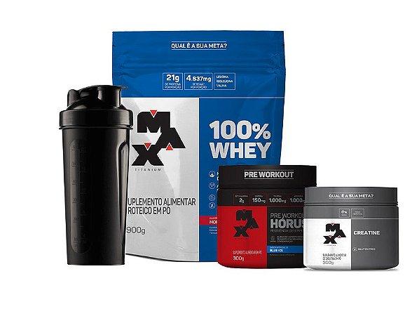 KIT Ganho de Massa Muscular Max Titanium (100%Whey 900g + Creatina 100g +Pré Treino Horus 300g+ Coqueteleira GRÁTIS!)