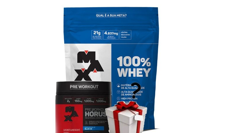 Kit 100% Whey Protein (900g- Refil) + Pré Treino Horus (300g) Max Titanium + BRINDE SURPRESA!!