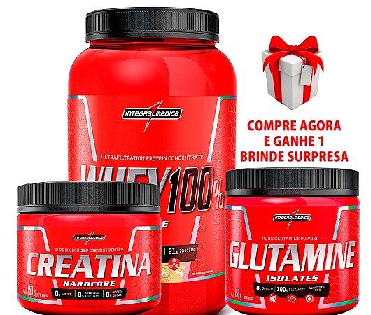 Kit Integral Medica (Super Whey 100% Pure + Creatina+ Glutamina) + BRINDE SURPRESA!