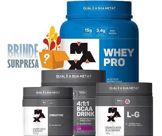 Kit Whey Pro (1kg) +Creatina (150g) + Glutamina (150g) + Bcaa Drink (280g) - Max Titanium + BRINDE SURPRESA!