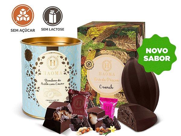 Kit Chocolate- Ovo de Páscoa SEM AÇÚCAR  (300g) + Bombom SEM AÇÚCAR  (200g - 10 unidades) - Haoma