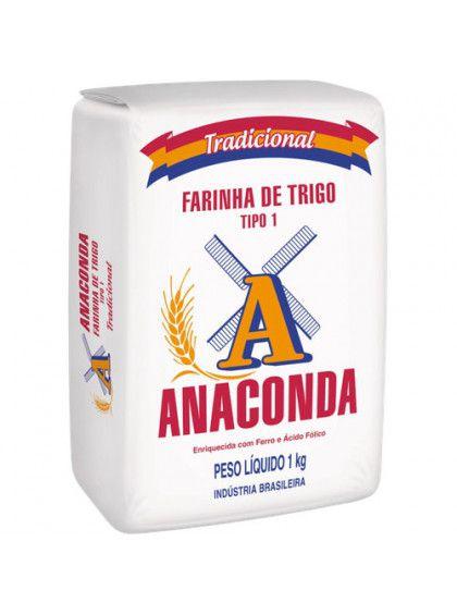 Farinha de trigo branca tipo 1 - Anaconda - 1kg
