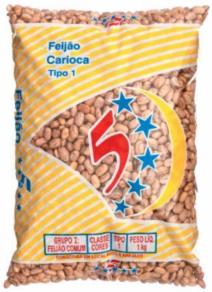 FEIJAO CARIOCA - 5 ESTRELAS - 1kg
