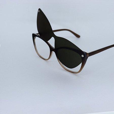 Armação de Óculos de Grau 2 em 1Livy Marrom Mesclado Seja Cereja