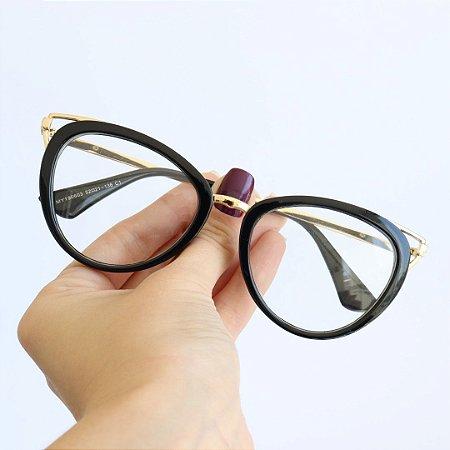 Armação de Óculos de Grau Ravenna Preto Seja Cereja