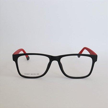 Armação de Óculos de Grau York Preto e Vermelho Seja Cereja