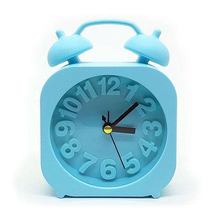Relógio de Mesa - Retrô Moderno Quadrado - Azul