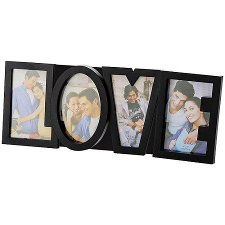 Porta-Retrato 4 Fotos - Love - Preto