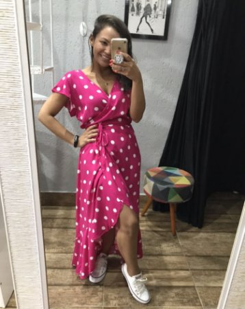 Vestido poá pink