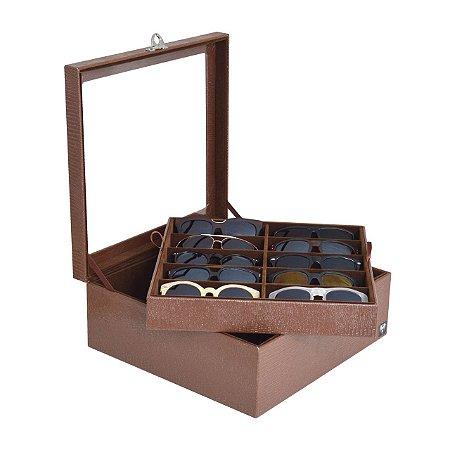 Estojo Porta Óculos 20 Nichos Couro Ecológico | Marrom Marrom