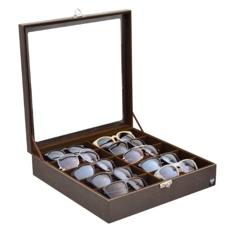 Estojo Porta Óculos 10 Nichos Couro Ecológico   Marrom Marrom